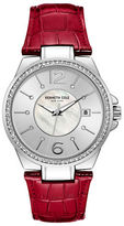 Kenneth Cole Classic Mother-Of-Pearl Dial Leather Strap Battery Powered Watch