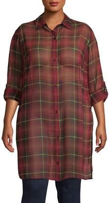 Design Lab Plus Buttoned Woven Tunic Shirt