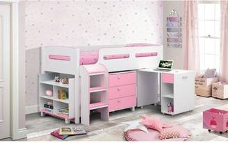 Julian Bowen Marley Cabin Bed with Storage and Desk - Pink