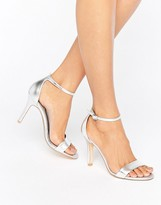 Dune Hydro Two Part Silver Heeled Sandals
