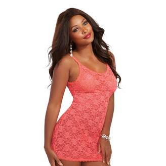 Dreamgirl Women's Stretch Lace Sexy Chemise with Matching G-String