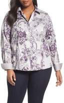 Foxcroft Plus Size Women's Floral Tapestry Shirt