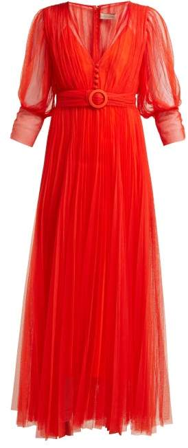 Maria Lucia Hohan Aminah Belted Tulle Dress - Womens - Red