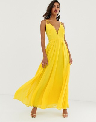 ASOS DESIGN maxi dress with cami straps and cut out detail