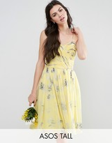 ASOS Tall ASOS TALL WEDDING Rouched Midi Dress in Sunshine Floral Print