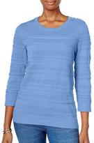 Karen Scott Buttoned Shoulder Crew Sweater