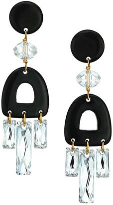 Nest 22K Goldplated, Swarovski Crystal & Horn Chandelier Earrings