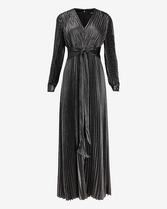 Express Metallic Pleated Tie Front Maxi Dress