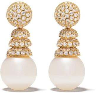 Yoko London 18kt yellow gold Aurelia South Sea pearl and diamond earrings