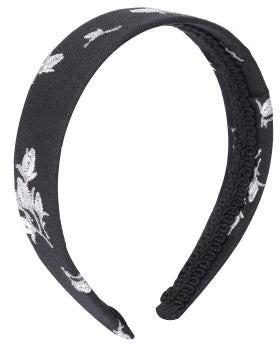 Erdem Floral-embroidered Linen-blend Headband - Black White