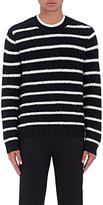 Vince Men's Striped Wool-Blend Bouclé Sweater-NAVY, IVORY