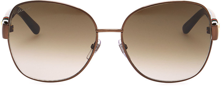 Gucci Metal-Rim Sunglasses, Brown