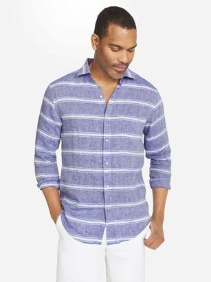 J.Mclaughlin Gramercy Classic Fit Linen Shirt in Horizontal Stripe
