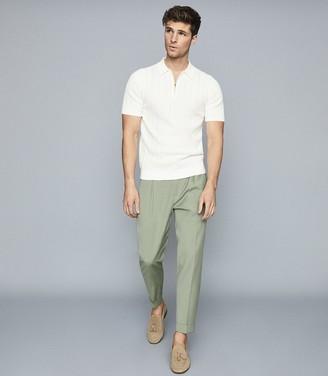 Reiss Hitch - Textured Zip Neck Polo Shirt in Ecru
