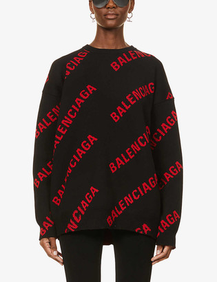 Balenciaga Logo-embroidered cotton-blend knitted jumper