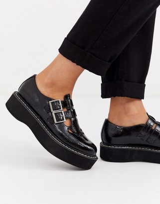 Asos Design DESIGN Mass chunky mary jane flat shoes in black