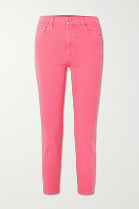 J Brand - Ruby Cropped High-rise Slim-fit Jeans - Pink