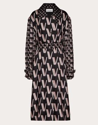 Valentino Printed Twill Trench Women Black/ivory Silk 100% 36