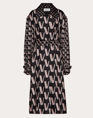 Valentino Printed Twill Trench Women Black/ivory Silk 100% 44