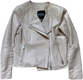 Veda Pink Leather Jacket for Women