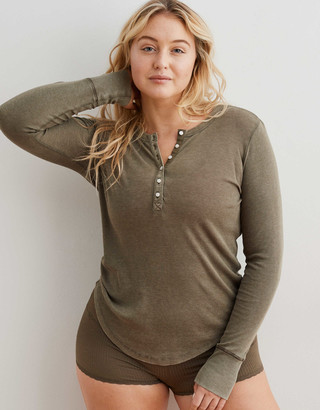 aerie Ribbed Henley Long Sleeve T-Shirt
