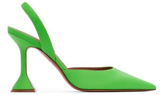 Amina Muaddi Green Holli Sling Heels