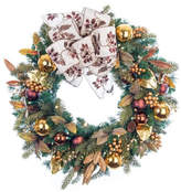"""clear Village Lighting 30"""" Gold Berry &Ornament Wreath w/100 LED Warm Lights"""