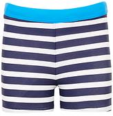 John Lewis Boys' Striped Swimming Trunks, Navy/White