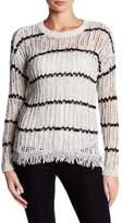 Dee Elly Open Knit Frayed Sweater