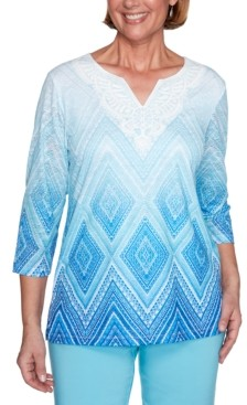 Alfred Dunner Sea You There Printed Lace Ombre Knit Top