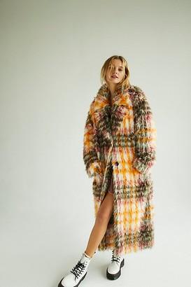 Free People Cardi Plaid Faux Fur Coat