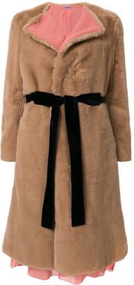 Sueundercover Sux belted faux fur coat