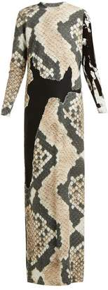 Marques Almeida Marques'almeida - Devore Snake Print Sheer Panel Maxi Dress - Womens - Grey Multi