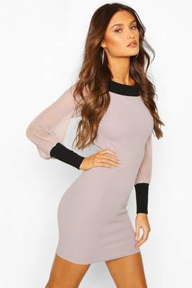 boohoo Contrast Trim Off The Shoulder Dress With Mesh Sleeves