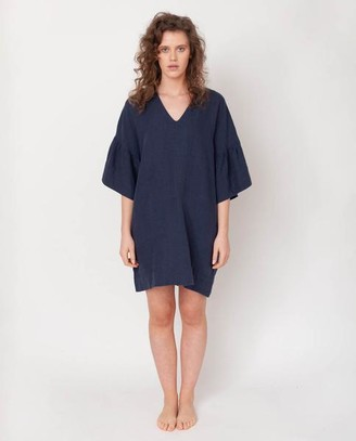 Beaumont Organic Bee May Linen Dress In Midnight - Midnight / Extra Small