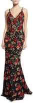 Jovani Sleeveless V-Neck Floral Embroidered Gown, Black/Multicolor
