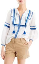 J.Crew Petite Women's Embroidered Linen & Cotton Top