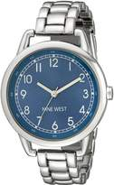 Nine West Women's NW/1691BLSB Easy-To-Read Silver-Tone Watch