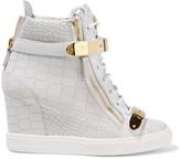 Giuseppe Zanotti Croc-effect leather wedge sneakers