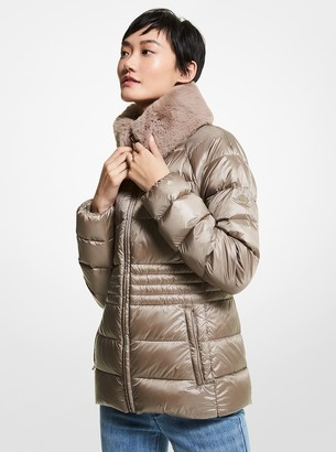 MICHAEL Michael Kors Faux Fur Collar Quilted Nylon Packable Puffer Jacket