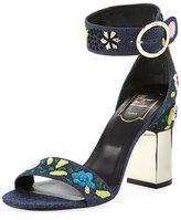 Roger Vivier Floral-Embroidered Denim 95mm Sandal, Multi
