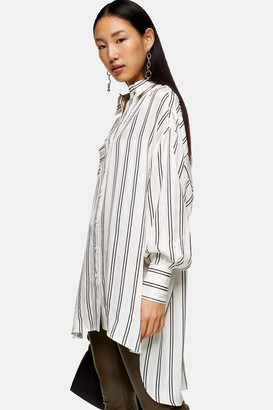 Topshop Womens Cream Stripe Jacquard Overshirt - Cream