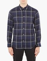Officine Generale Navy Button-down Plaid Shirt