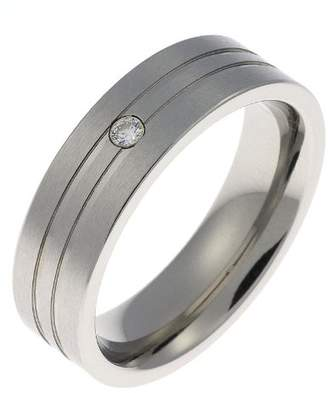Schumann Design Engagement/Wedding Ring, Stainless Steel, 2Mm Cubic Zirconia, 6Mm Band Width - Size T 1/2