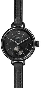Shinola The Birdy SubSecond Black Leather Strap Watch, 34mm