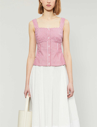 Maje Loussie cotton-poplin striped top