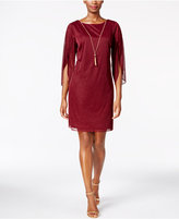 MSK Angel-Sleeve Glitter Necklace Dress