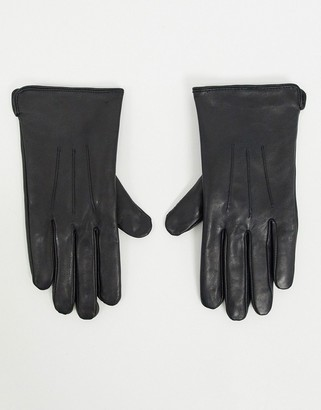 Barneys New York real leather gloves with touch screen compatibility in black
