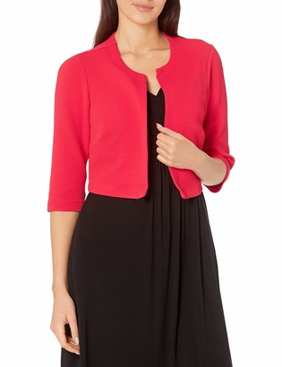 Robbie Bee Women's Missy 2 Pc Dotted Jacket Dress Black/Coral S