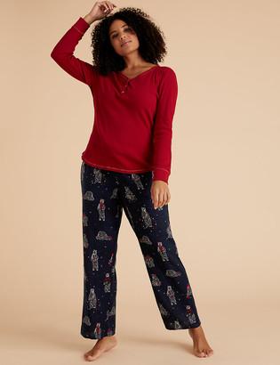 Marks and Spencer Cotton Polar Bear Print Pyjama Bottoms